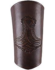 Guardabrazos de cuero, con Martillo de thor, largos - Pulsera Puños de brazo Vikingo LARP Edad media