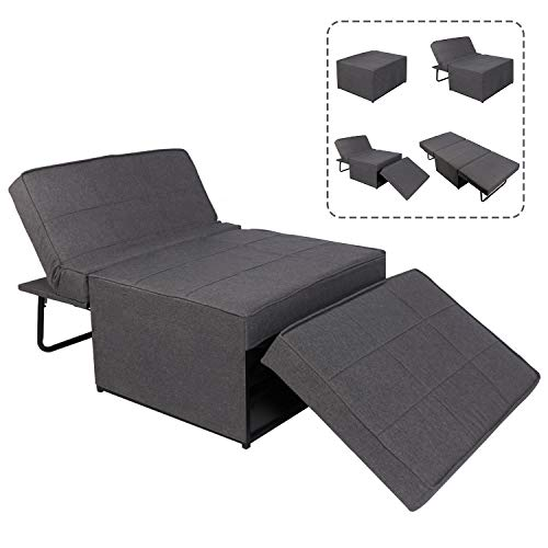 4-in-1 Multifunctional Sofa Bed, Sleeper Couch Pull Out Lounger Chair, Living Room Sofa Full Padded with Detachable Cover, Home Theater Seat (Grey)