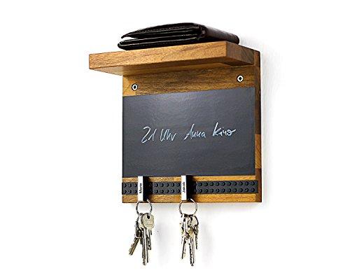 Schlüsselbrett Play 205 Holz für die ganze Familie | Schlüsselboard mit Ablage | Schlüsselleiste Nussbaum mit 5 Schlüsselanhängern zum selbst beschriften | Memoboard Tafel mit Kreidestift | schwarz