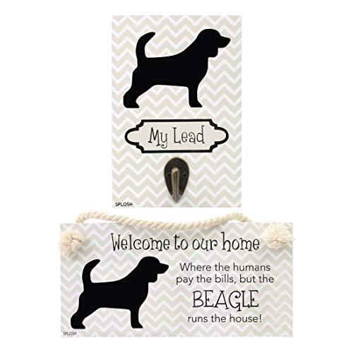 Precious-Pets Hundeplakette und Hundeleinenhaken, Beagle, lustige Schilder, Geschenk für Mütter, Hundezubehör, Hausmaterial