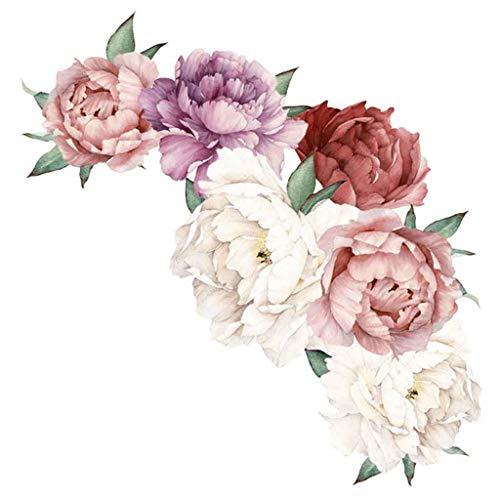 Beautyma Peony Rose Flowers Wall Sticker For Home Art Sticker Living Room Bedroom Sofa Backdrop Tv Wall Decoration (B)