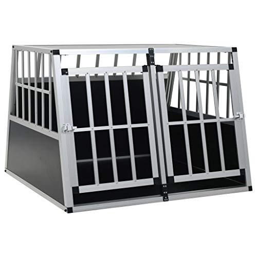 Festnight Hunde Transportbox für Auto 94 x 88 x 69 cm mit Doppeltür | Hundebox Autobox Hundetransportbox Alubox Hund Reisebox Silber