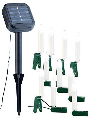 Lunartec Solar Weihnachtsbaum: Solar-Lichterkette für Außen mit 10 flackernden LED-Kerzen (Solar Tannenbaum)
