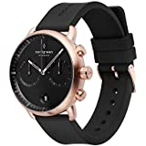 Nordgreen Pioneer Men's Chronograph Watch Scandinavian Rose Gold 42mm with Black Dial and Black Rubber Strap 14024