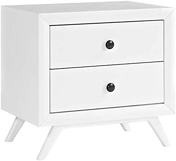 Modway Tracy Mid Century Modern Wood Nightstand In White