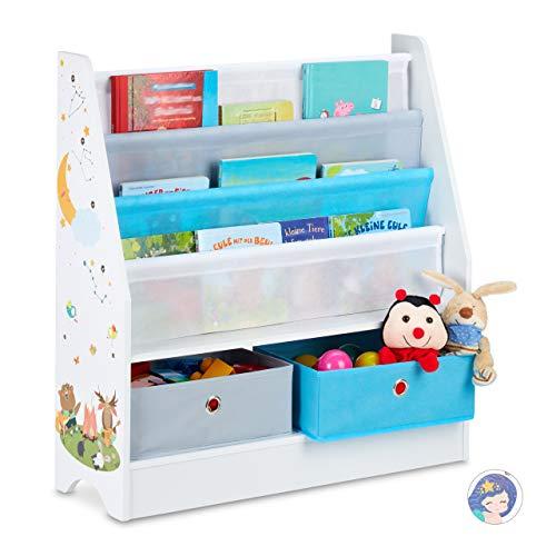 Relaxdays Estantería Infantil con diseño de Animales, 2 Cajas, 2 Compartimentos, para Guardar Juguetes, 74 x 71 x 23 cm, Multicolor, Hoguera, 1 Unidad