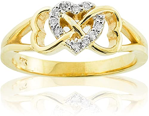 10K Yellow Gold 1/15 Cttw Diamond Accented Triple Heart Infinity Celtic Knot Band Engagement Ring (J-K Color, I1-I2 Clarity) - Size 6
