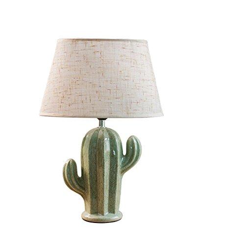 LEGELY Lampe de table en céramique de Cactus, luminaire américain simple lampe d'éclairage, lampe d'apprentissage chambre d'étude, lampe d'art créatif, vert E27