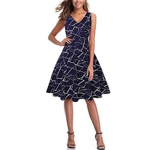 KPH 2020 Sommer ärmelloses, gestreiftes, schmal geschnittenes Abendkleid mit V-Ausschnitt und Taille-Print