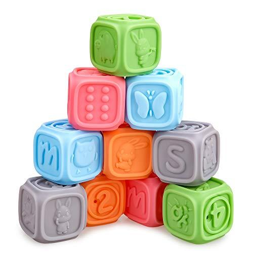 SUNTOY Juego de Bloques de bebé construcción Suaves para bebés Juguetes de baño Juego con números Formas Animales Frutas - Regalo Favorito de los niños