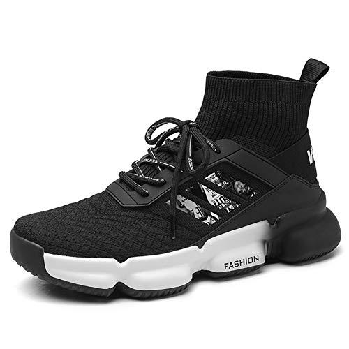 Xue Heren Atletische Schoenen, Herfst High-Top Sneakers, Comfort Hardloopschoenen, Gebreide Laarzen, Lichtgewicht Hardloopschoenen, Halverwege, Enkellaarzen, Hip Hop Laarzen