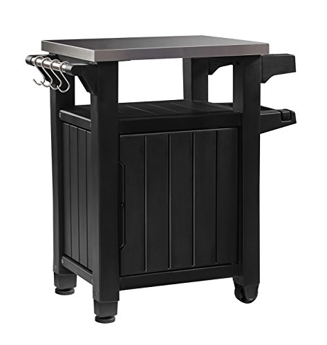 Keter Unity Portable Outdoor Table and Storage Cabinet with Hooks for Grill Accessories-Stainless Steel Top for Patio Kitchen Island or Bar Cart, Dark Grey