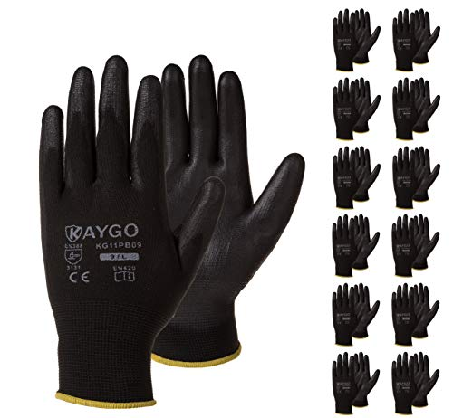 Safety Work Gloves PU Coated-12 Pairs,KAYGO KG11PB, Seamless Knit Glove with Polyurethane Coated Smooth Grip on Palm & Fingers, for Men and Women, Ideal for General Duty Work (Large, Black)
