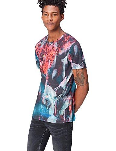 Marca Amazon - find. Camiseta con Estampado Digital Hombre, Negro (Multicoloured), M,...