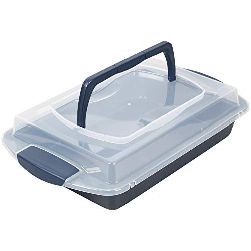 Wilton Non-Stick Diamond-Infused Navy Blue Oblong Pan with Cover, 9 x 13-inch