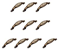 ハンドルセット/ 10pcs 135mm彫刻バラヴィンテージアンティークブロンズカラー亜鉛合金弓ハンドル、ビンテージ素朴なスタイルキャビネットノブレトロなスタイル ドアハンドル WUTONG (Color : Antique Bronze Color, Size : One Size)