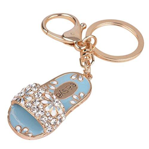 Carry stone 1 Stücke Kristall Flip Flop Keychain Geldbörse Handtasche Autotelefon Zubehör für Freundin Liebhaber Geschenk Blau Hohe Qualität