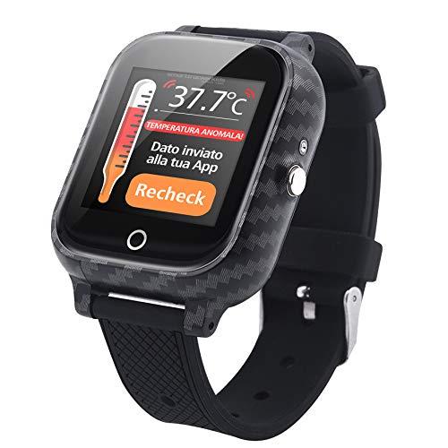 Smarttrackerkids20T Control de temperatura, GPS, perímetro de seguridad, reloj con botón SOS para niños – IP67 impermeable reloj inteligente SOS llamada de emergencia Sistema (negro)