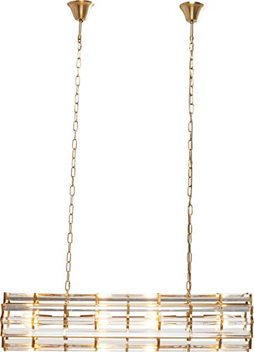 Kare Design Hängeleuchte Firestarter, XL Hängelampe, Hängeleuchte modern, Kronleuchter modern, Gold, (H/B/T) 24x100x24cm