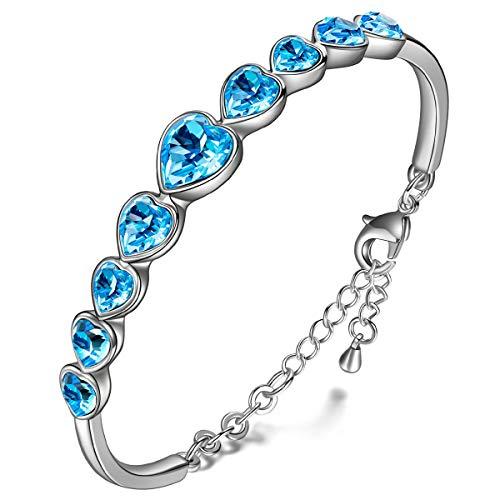 AVATAR Pulsera para Mujer 925 de Plata esterlina corazón del océano Cristales Azules Regalos para Mujer niña Esposa Madre Novia Amigos su joyería cumpleaños Aniversario