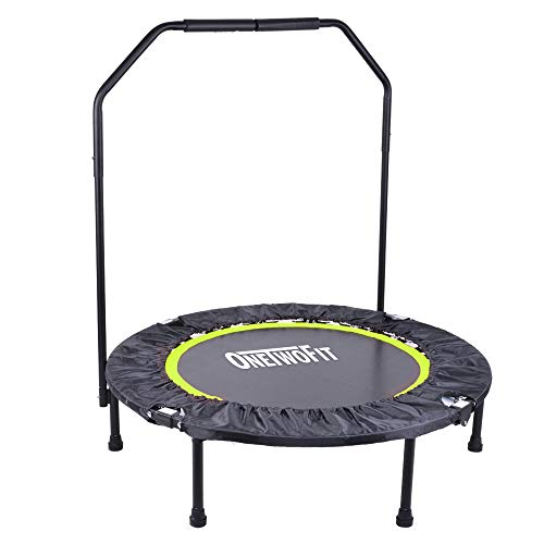ONETWOFIT Foldable Mini Fitness Trampoline with Adjustable Handle, Portable Small Indoor Trampoline for Leisure and Fitness, 40in, Maximum Weight: 150kg OT087