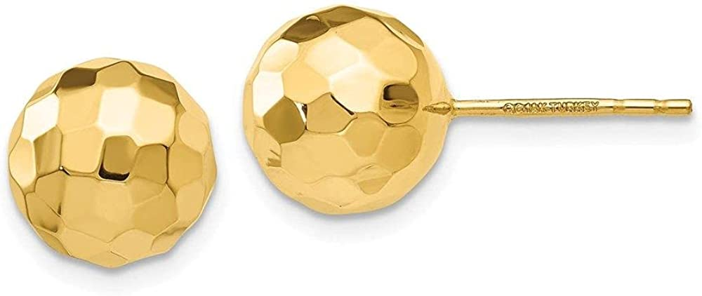 Jewelry-14K Mail order Gold Polished and Diamond Earrin 9.5MM Post Cut Latest item Ball