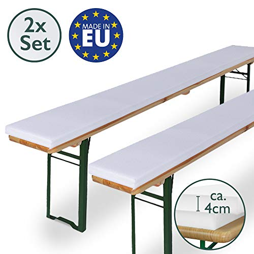 Beautissu Bierbank-Auflagen 2er Set EXTRA STARK 4cm Dicke Schaumstoff-Polster für Hussen Bierzelt- & Festzelt-Garnitur