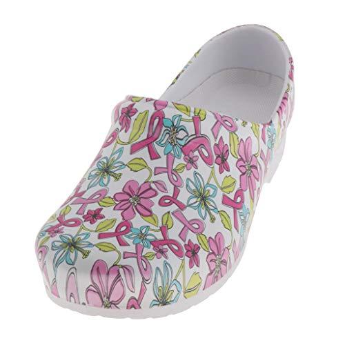 freneci Zapatos de Enfermera de Enfermería Estampados para Mujer Zapatillas de Plataforma Impermeables Sandalias - 39