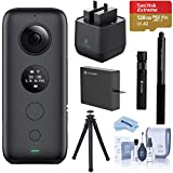 Insta360 ONE X 360 Action Camera, 5.7K Video and 18 MP Photos, Bundle with Bullet-Time Handle, Selfie Stick, Dual Charger, Extra Battery, 128GB microSD Card, FotoPro UFO 2 Tripod, Cleaning Kit