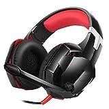 FFZQ Auriculares Esports, Universal, 3.5 mm, en la Cabeza, Auriculares con cancelación de Ruido, Flexibles, para Xbox 360, PS3, PS4, Laptop, TV,Rojo