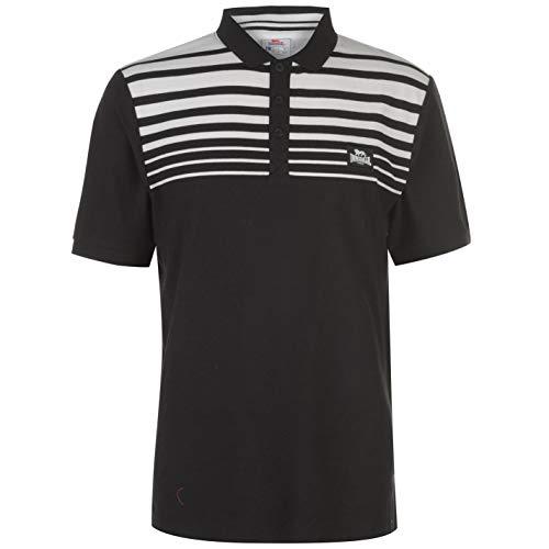Lonsdale Herren Polo Shirt Gestreift Kurzarm Schwarz/Weiß XL