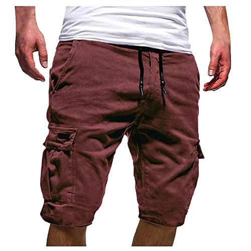MMUJERY Pantalones Hombre-Pantalones Cortos Hombre-Pantalones Cortos de poliéster para Hombres-Pantalones Cortos Casual para Hombre-Pantalones de Trabajo Hombres-Pantalones Multibolsillos Hombre