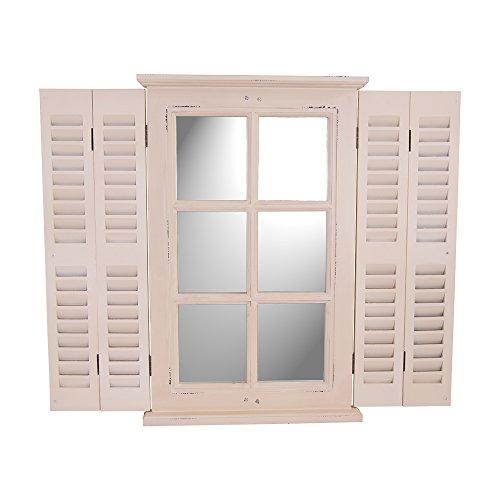 Vintage-Line Spiegel Karlum cremeweiß Wandspiegel Fensterläden Landhausstil Holz Lamellen