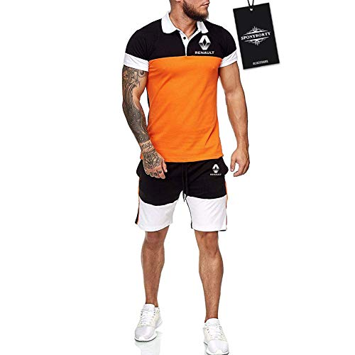 Hickeyy Hombres Solapa Camiseta Bermudas Chandal Conjunto por Ren-ault Algodón Dos Piezas Corto Manga Tee Pantalones Ropa Deportiva Sudaderas/naranja/M