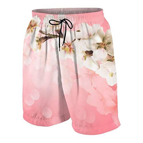 AMIGGOO Troncos de natación de los Hombres,Rama de árbol floreciente Cerezo japonés Sakura,Trajes de baño de Ropa de Playa Trajes de baño Shorts de baño Trajes de baño de Malla y Bolsillos