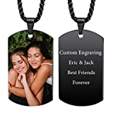 VIBOOS Custom Dog Tag Pendant Necklace Engraving Date/Text/Pictures Stainless Steel Personalized Necklace for Men Women Boys Girls Bundle with Adjustable Chain, Keychain, Silencer.(Black Color)