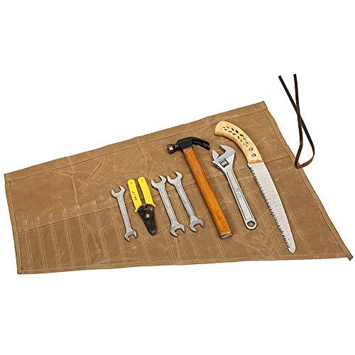 QEES Werkzeugtasche Rolltasche (14 Fächer) Aufbewahrungstasche Für Handwerker Elektriker Maler Künstler Tischler HYGJB011-Kaki