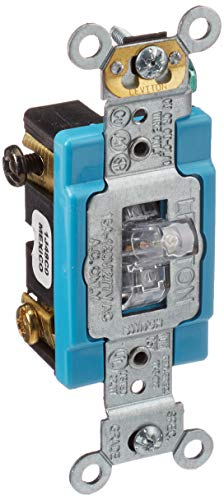 Leviton 1201-PLC 15 Amp, 120 Volt, Toggle Pilot Light, Illuminated ON, Req. Neutral Single-Pole AC Quiet Switch, Industrial Grade, Self Grounding, Clear