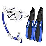 Flytise Snorkel Goggles Flippers Set Gafas de Snorkel Aletas de natación Equipo de Buceo Snorkel Paquete
