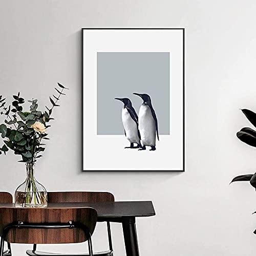 SXXRZA Impresiones de Pared 60x80 cm sin Marco Moderno nórdico Lindo pingüino Familia Cartel nórdico Animal Arte de la Pared impresión de imágenes habitación de los niños decoración del hogar