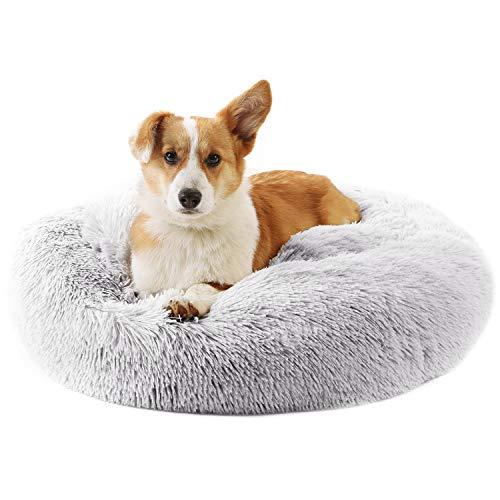 Peto-Raifu ペットベッド ペットクッション ペットマット ペットソファ ラウンド型 丸型 ドーナツペットベッド ぐっすり眠る ふわふわ もこもこ 暖かい 滑り止め 防寒 寒さ対策 洗える 猫用 小型犬用 ペット用品 3サイズ選択可 約50Rx高さ20cm, ライトグレー