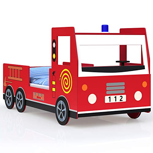 Deuba Kinderbett Jugendbett Juniorbett Bett Autobett Feuerwehrbett Spielbett Kindermöbel 205 cm x 94,5 cm x 103 cm inkl. Lattenrost rot reich verziert