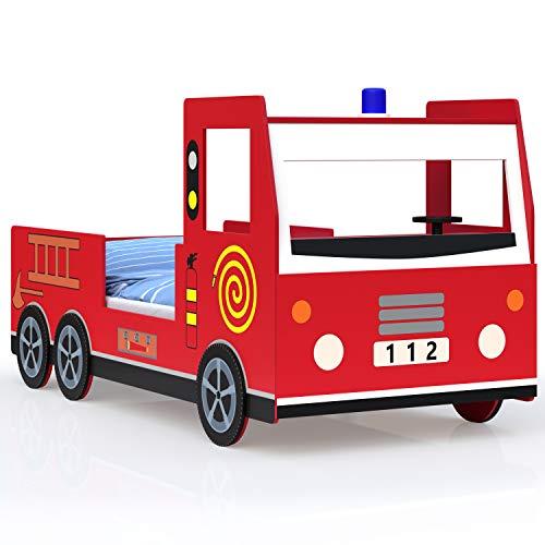 Deuba Cama infantil diseño moderno de coche de bomberos 200x90cm de Madera ruedas en 3D con sirena volante somier