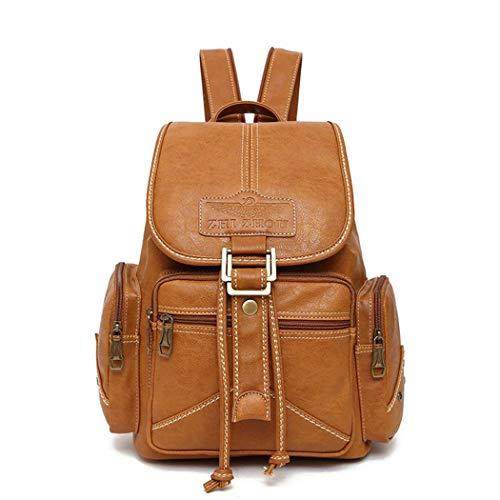 Woman Fashion Designer Brown PU Leather Backpack Bags Vintage Drawstring Daypack Girl Daily Rucksack Khaki Woman Backpack