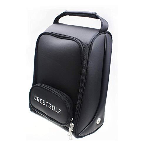 Crestgolf Deluxe PU Golf Schuhtasche wasserdicht mit Reißverschluss Schuhtaschen Belüftung & Außentaschen Socken, T-Shirts usw.