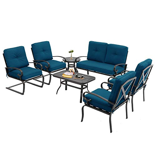 Incbruce 7Pcs Outdoor Patio Furniture Conversation Sets (Loveseat, Coffee Table and Bistro Table, 2 Spring Chair, 2 Lounge Chairs) - Steel Frame Cafe Furniture Sets with Cushions (Peacock Blue)
