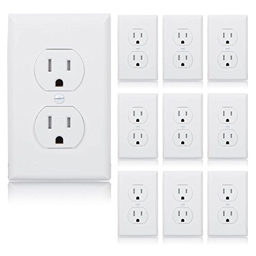 Maxxima Tamper Resistant Duplex Receptacle Standard Electrical Wall Outlet 15A White, Wall Plates Included (Pack of 10)