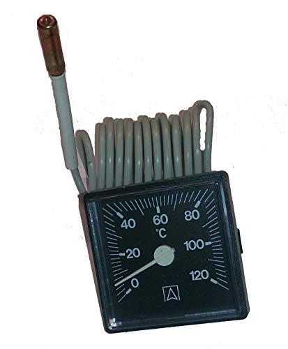 Kessel-Thermometer 45 mm x 45 mm, Anzeigebereich 0-120 °C m. Kapillarleitung 1500mm