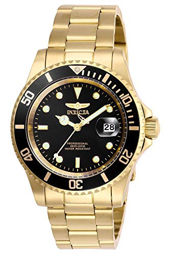 Invicta Men's Pro Diver 40mm Stainless Steel Quartz Watch, Gold/Black (Model: 26975)