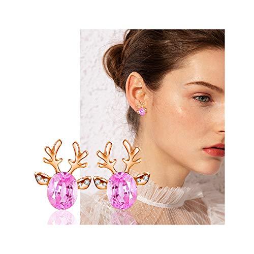 Hunpta - Pendientes con diamantes de imitación, diseño de cuerno de ciervo de alce, regalo para mujeres, vacaciones, Navidad, fiesta de cumpleaños (rosa)